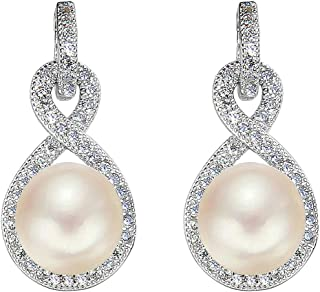 EleQueen 925 Sterling Silver CZ AAA Button Cream Freshwater Cultured Pearl Infinity Bridal Drop Earrings (9mm)