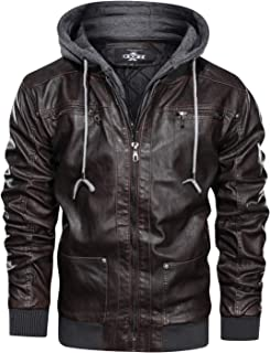 Men's Warm PU Faux Leather Zip-Up Motorcycle Bomber Jacket with a Removable Hood