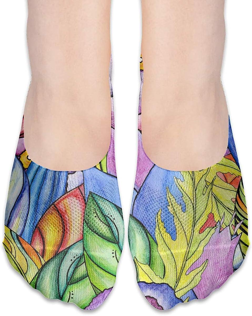 No Show Socks Women Men For Floral Flowers Watercolor Flats Cotton Ultra Low Cut Liner Socks Non Slip