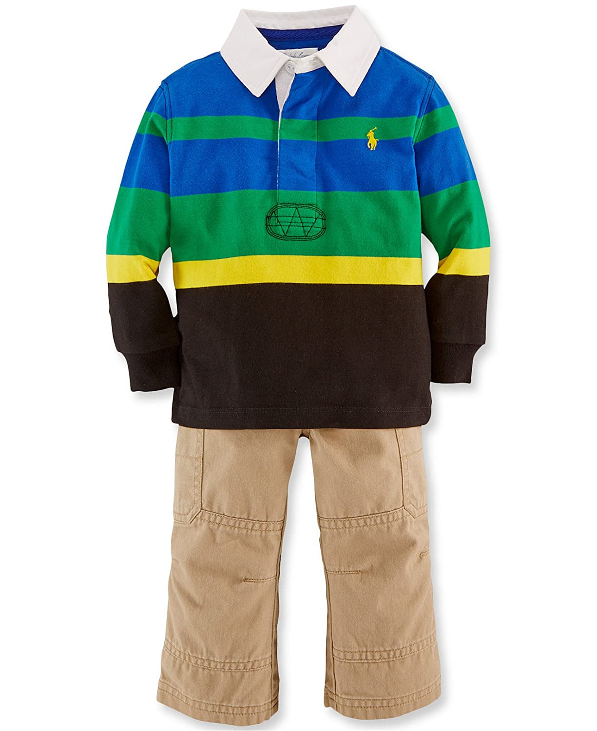 Ralph Lauren Polo Arlington Mall Baby Boys 2 Chino Rugby Piece Shirt Striped New sales