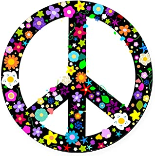 CafePress Hippie Flowery Peace Sign Round Car Magnet, Magnetic Bumper Sticker