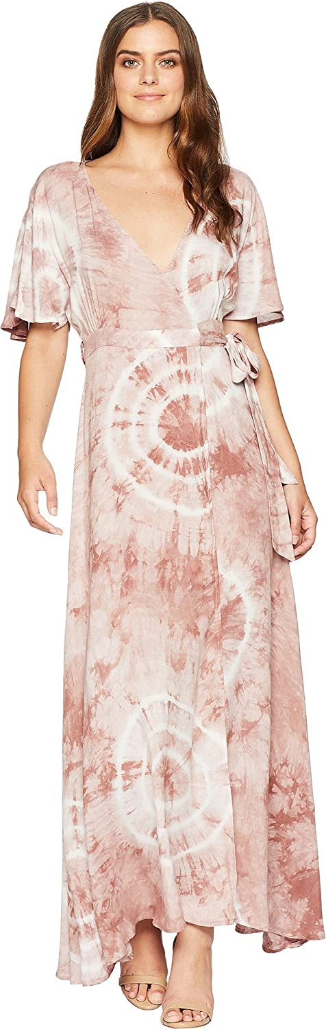 American pink Womens Kiana TieDye Wrap Maxi Dress
