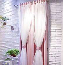 Vandesun Dual Layer Grommet Top Mix and Match Blackout Curtains with White Sheer for Living Room and Bedroom -1 Panel (52 X 84, Pink)