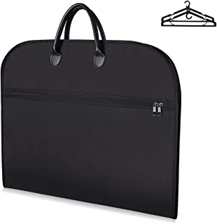 Travel Suit Bag Carrier with Extra Front Compartment and 2 Pcs Hangers - Water-resistant Business Garment Bags with Carry Handles for Clothing Storage of Suits, Tuxedos, Coats, Dresses & Dance Costume