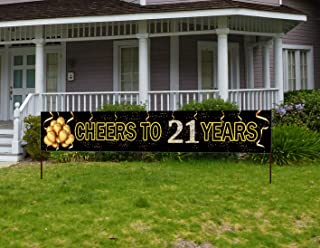 Large Cheers to 21 Years Birthday Banner, Black Gold Happy 21st Birthday Party Sign Decorations