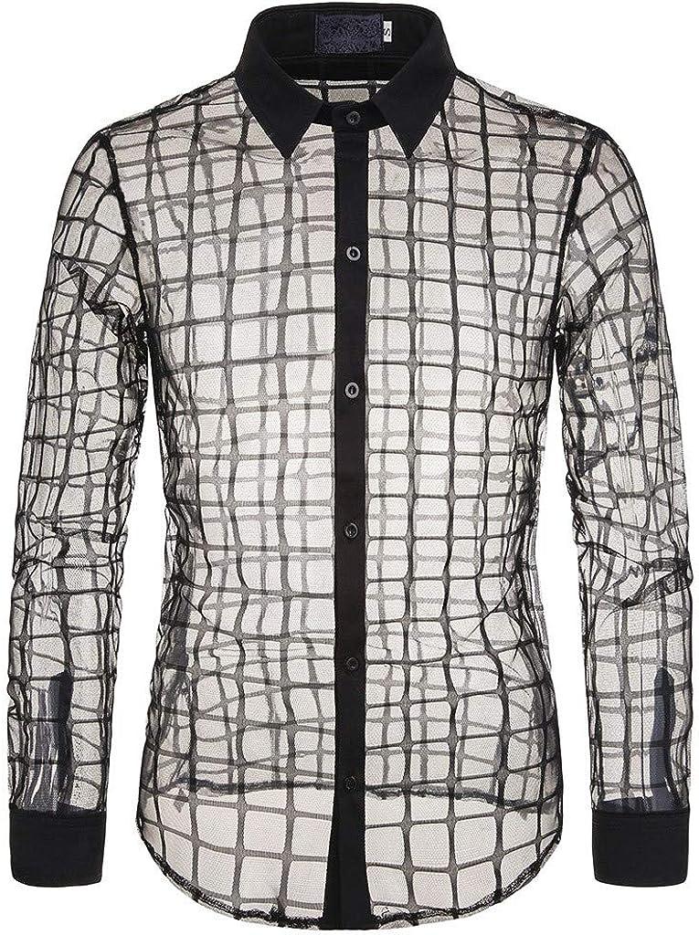 MODOQO Men's Mesh Long Sleeve Slim Fit Button Down Shirt Top