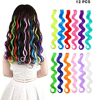12 Pieces Party Highlights Clip in Colored Hair Extensions for Kids Girls Colorful Hair Extensions 22 inches Curly Synthetic Hairpieces 12 Multi-Colors