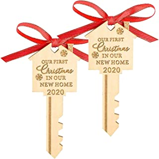 LEJHOME 2020 Our First Christmas in Our New Home Wood Key Christmas Ornament for..