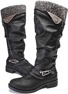 gracosy Leather Knee Boots, Women`s Knee High Boot Flat Heel Zipper Buckle Riding Boots