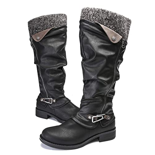 f9e1ed539fe gracosy Knee High Boots Women s Leather Ankle Riding Boots Ladies Low Flat  Heel Round Toe Long