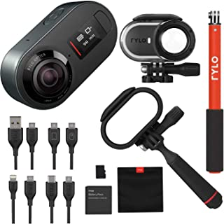 Rylo 5.8K 360 Degree Video Camera Black, (iPhone +Android) Bundle Kit with 16GB SD Card + Everyday Case + Rylo Adventure Case + Rylo Invisible SelfieStick