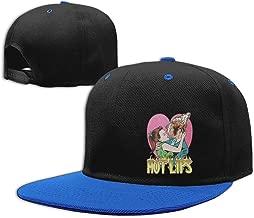 AiguanHot Lips Flat Visor Baseball Cap, Cool Snapback Hat White