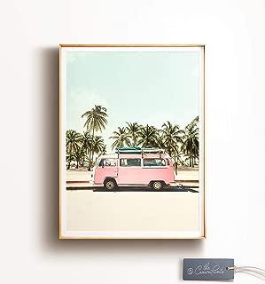 TimPrint VW Bus Decor Printable Art Retro Poster Beach Print California Wall Art Palm Trees Beach Poster Kombi Print Pink Wall Art Boho Art