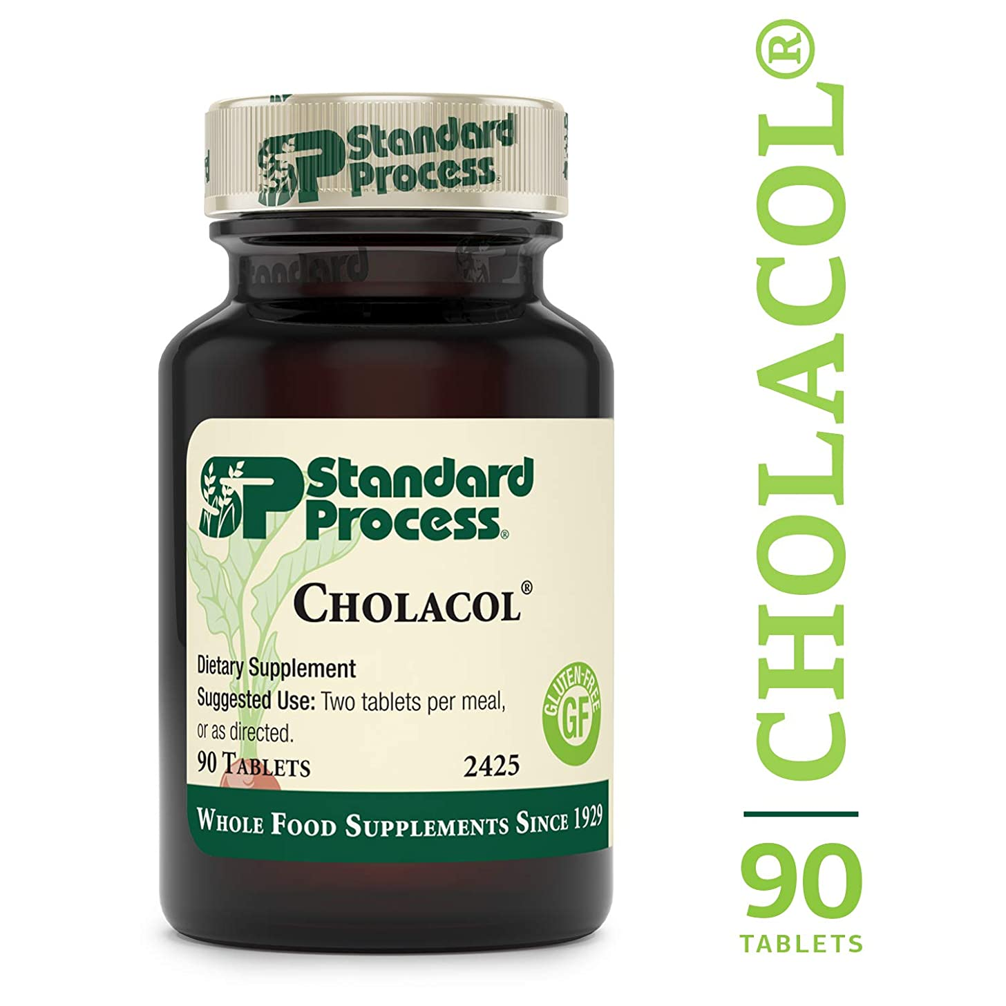 Standard Process - Cholacol - Healthy Fat Digestion Support Supplement, Provides Iron, Collinsonia, and Bile Salts, Gluten Free - 90 Tablets