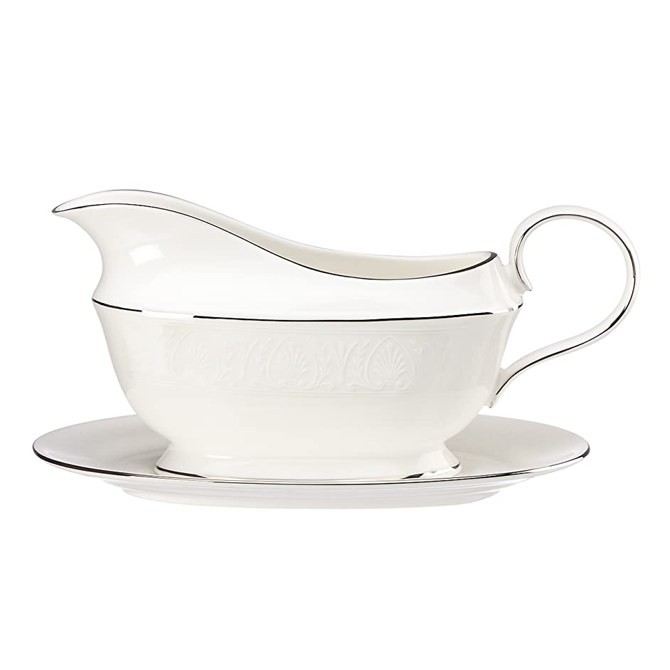 Lenox Hannah Platinum Sauce Boat and Stand, White