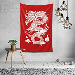 Chinese Dragon Red Wall Hanging Tapestry, Psychedelic Wall Art, Room Decor Beach Throw, Indian Wall Tapestries Art 40 x 60 Inches for Dorm Room Bedroom Apartment