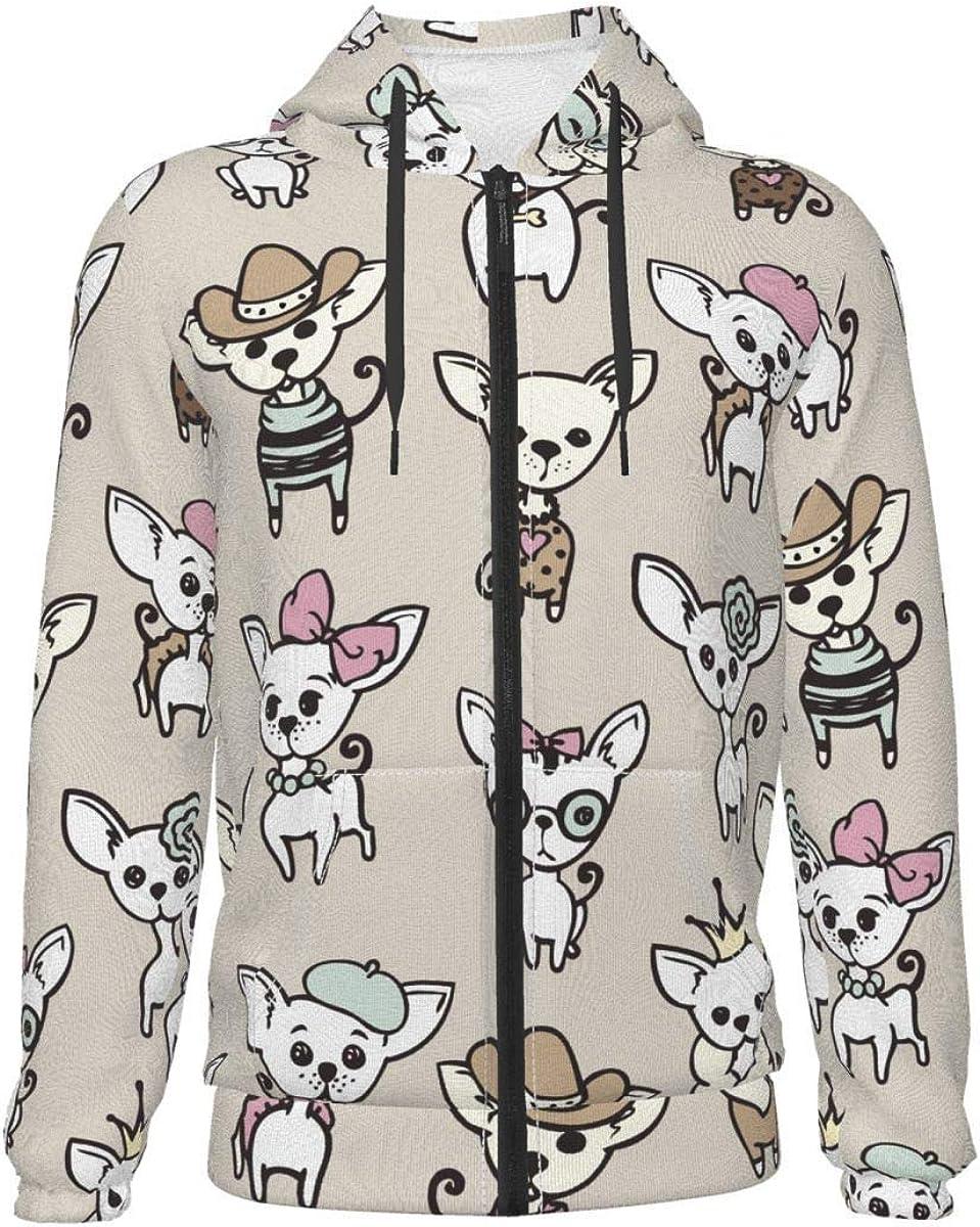 X-Peach Funny Chihuahua Kids & Youth Full-Zip Fleece Hoodie Boys Graphic Hooded Sweatshirt Jacket Pockets