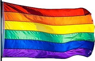 US Flag Factory 3x5 FT Rainbow Flag (Sewn Stripes) Outdoor SolarMax Nylon - Gay Pride Lesbian LGBT - UV Fading Resistant - Premium Quality - Made in USA