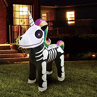 Joiedomi Halloween 5 FT Inflatable Skeleton Unicorn with Build-in LEDs Blow Up Inflatables for Halloween Party Indoor, Outdoor, Yard, Garden, Lawn Decoration
