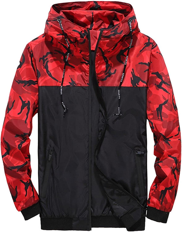 LEIYAN Mens Camouflage Hoodie Casual Long Sleeve Turtleneck Colorblock Zip Up Gym Workout Sweatshirt Pullover
