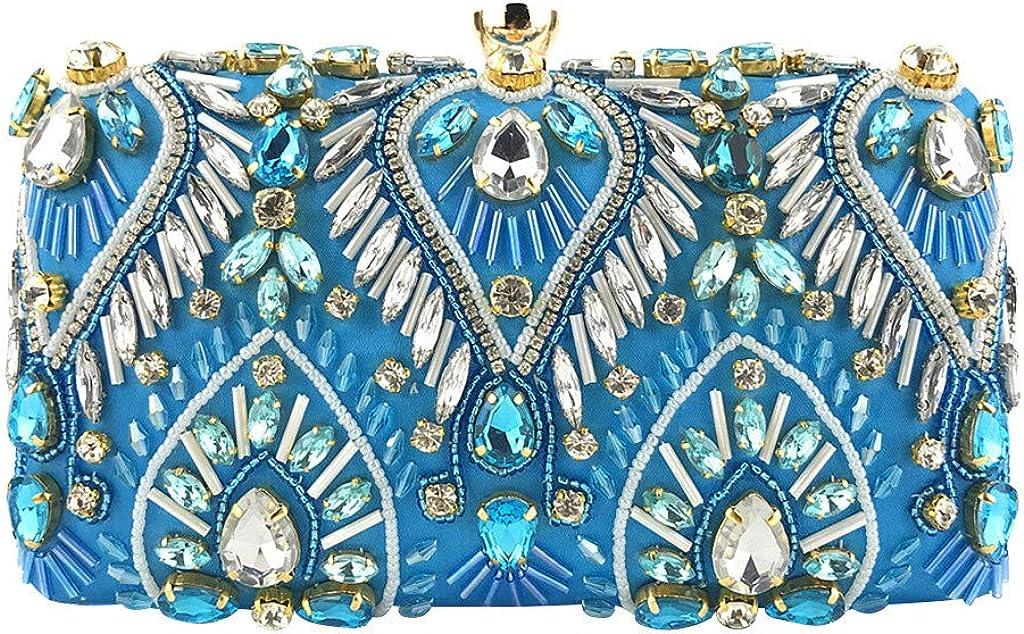 nightfall Women Noble Crystal Beaded Evening Bag Wedding Clutch Purse