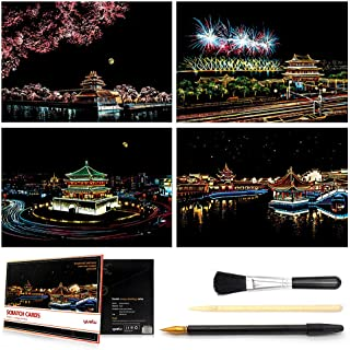 Scratch & Sketch Art for Kids & Adults, Rainbow Painting Night View Scratchboard(A4), Art & Craft, Scratch Art Set: 4 Sheets Scratch Cards & Scratch Drawing Pen, Clean Brush (Antique Buildings)