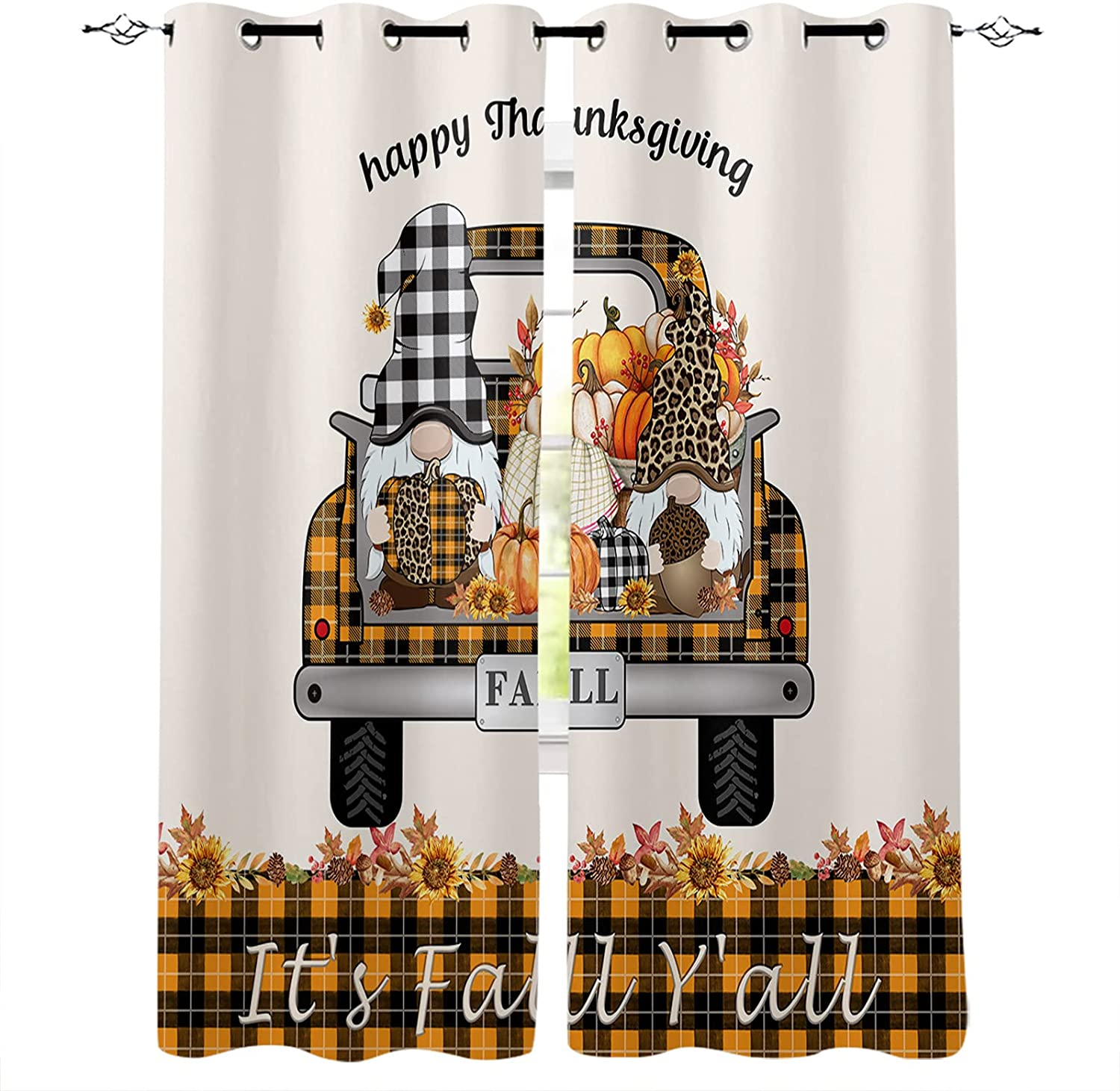 2 Indianapolis Mall Panel Window Drapes for Day Thanksgiving Cafe Munchki Direct sale of manufacturer Kitchen