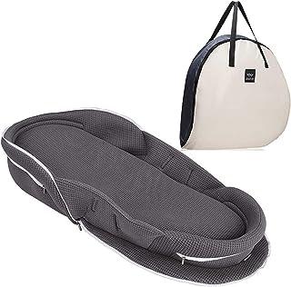 【ベビーアムール】 Bebamour ベビーベッド 折りたたみ式 ベッドインベッド 添い寝 簡易ベッド 新生児 携帯型ベビーベッド 通気性 高さ調整可 機械洗い(グレー)