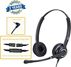 MKJ Corded 2.5mm Headset Landline Telephone Headset with Microphone for Panasonic Polycom Cisco Linksys SPA Gigaset and Other Dect Phones