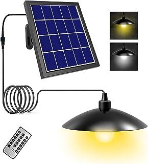 T-SUN Luz Colgante Solar Exterior, Lámpara Colgante Solares Retro con Control Remoto, Regulable 3000K/6000K, Cable de 5M Lámpara Colgante, 8 Modos de Brillo y 8 Ajustes de Temporizador.