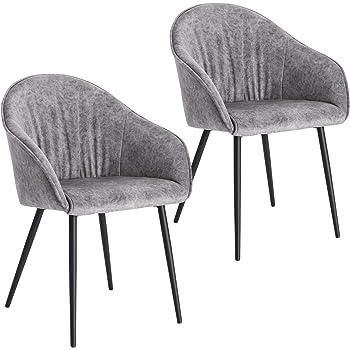 Lestarain 2er Set Esszimmerstühle, Küchenstuhl Polsterstuhl Sessel Aus Samt Mit Armlehne Metallbeine, Stuhl Für Esszimmer Wohnzimmer, Hellgrau