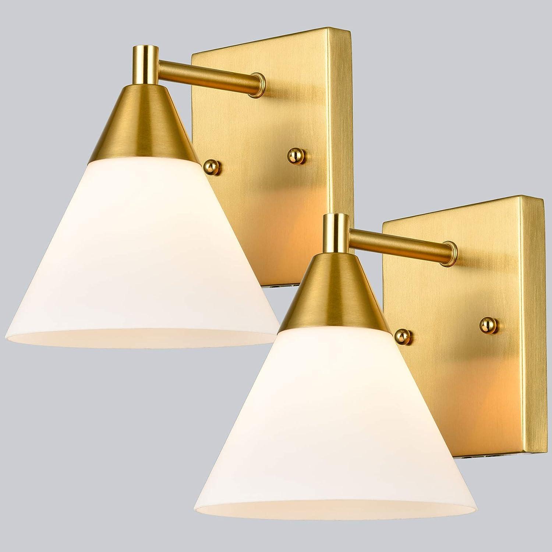 Dazhuan Modern Wall Sconces Set of 2 Brass Bathroom Vanity Light Fixtures Opal Glass Wall Lights