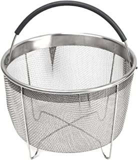 Kaviatek the Original Sturdy Stainless Steel Steamer Basket with Handle for Instant Pot Accessories 6qt 8qt Pressure Cooker, Silver
