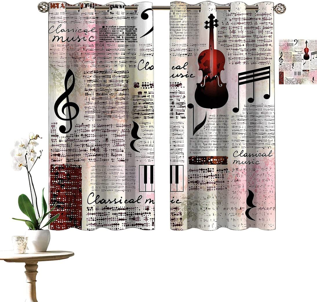 Old Easy-to-use Newspaper Decor Custom Max 72% OFF Curtains Instru Classical Theme Music