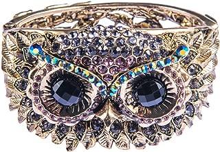 Womens Antique Owl Bird Crystal Rhinestone Costume Cuff Bangle Bracelet