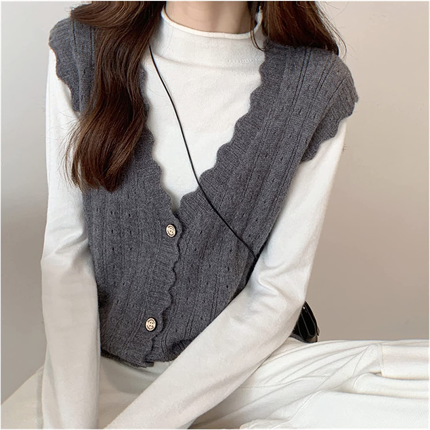 EEKLSJ Women Knitted Sweater Vests Autumn Spring V Neck Hollow Out Sleeveless Button Cardigan Vests Outerwear (Color : E, Size : One Size)