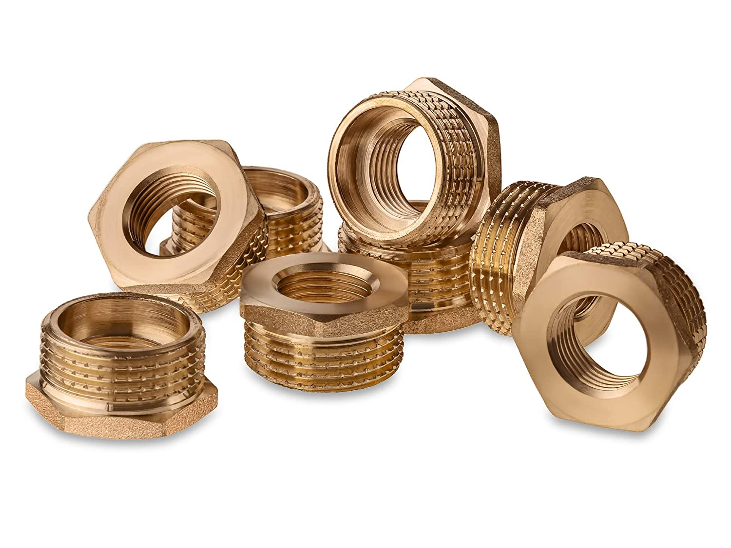 Pipe Fitting Hex Bushing 1 Male x 1//2 Female Brass Threaded Brass Threaded Pipe Pack of 8