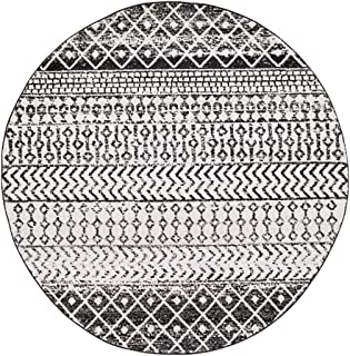 "Constantinople 5' 3"" Moroccan Bohemian Pattern - Farmhouse Area Rug - Round - Polypropylene - Black, Light Gray, Medium Gr..."