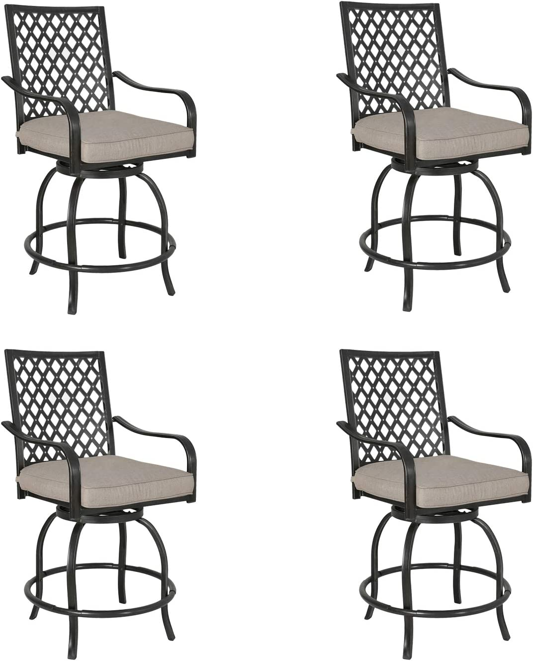 Iwicker 4 Piece Outdoor half Swivel Bistro Bar Stool Rapid rise with Polyes 100%