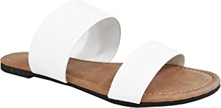 Charles Albert Womens Two Strap Sandal Slide On Flip Flop-Flat Sandals-Extra Comfortable-Cute