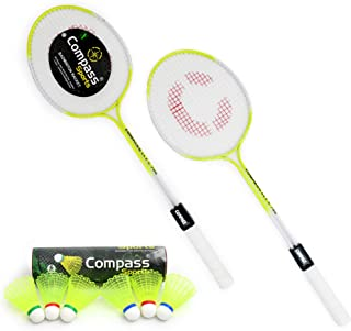 COMPASS SPORTS CS-786 Double Shaft Badminton Racket Set of 2 Piece with 6 Piece Platic Shuttle