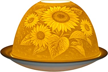 "Him ""Sunflower Tea Light Holder, Porcelain, White"
