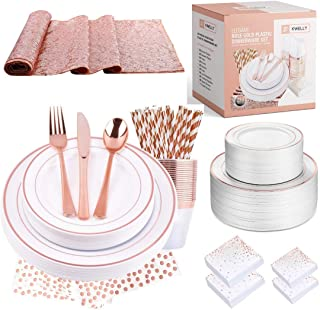 Disposable Plastic Tableware Set | Includes Plates, Cutlery, Table Runner, Napkins, Cups & Paper Straws for Dinner, Party,...
