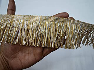 Indian Ribbon Sewing Tape 2.5 inch Silver Gold Fringe Wholesale Wedding Dress Trim by 9 Yard Eyelash Traditional Decorative Sewing Border lace Crafting Embellishment Costume Trimmings