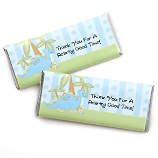 Baby Boy Dinosaur – Candy Bar Wrappers Baby Shower or Birthday Party Favors - Set of 24
