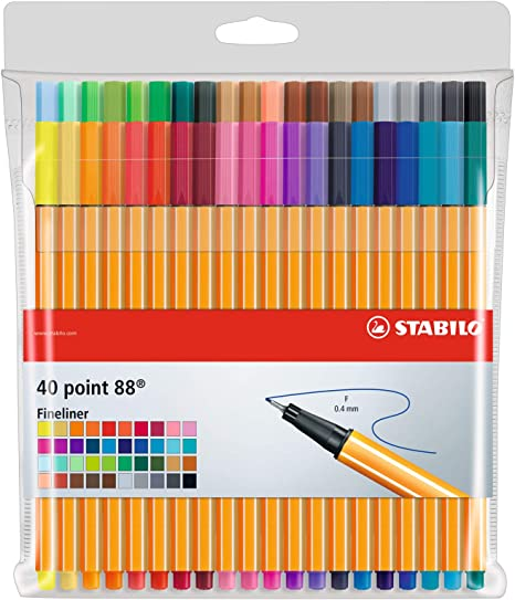 STABILO Point 88 Wallet Set, Set of 40, Multicolor