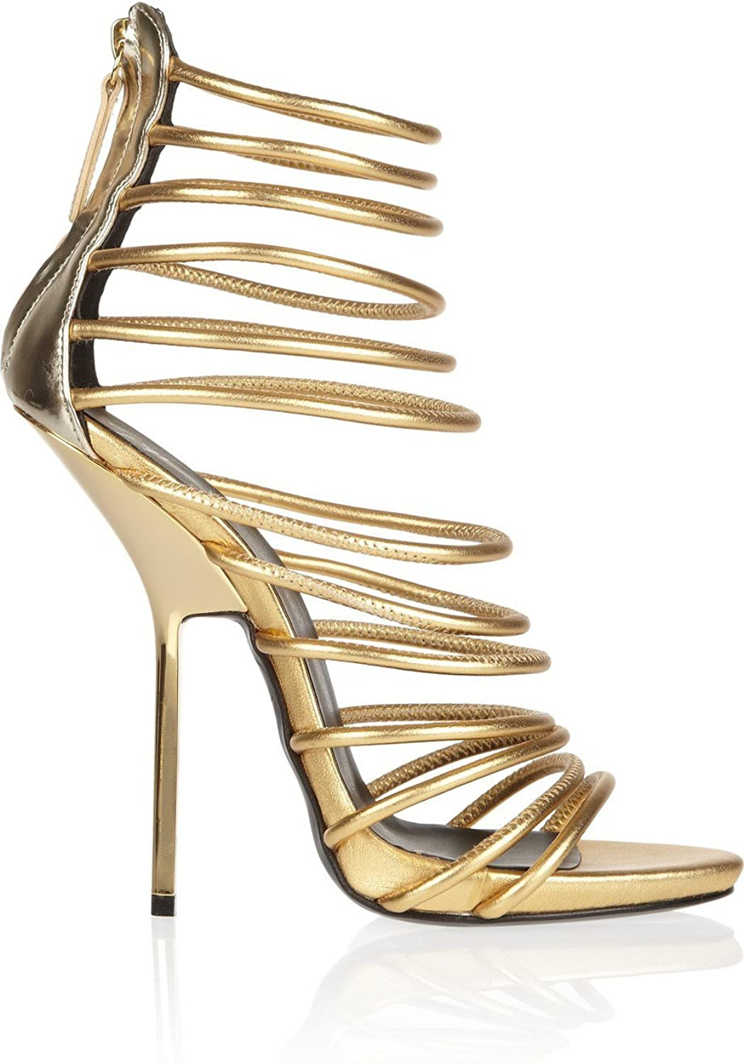 AIWEIYi Womens Open Toe Stiletto High Heels Ankle Strap Strappy Sandals gold