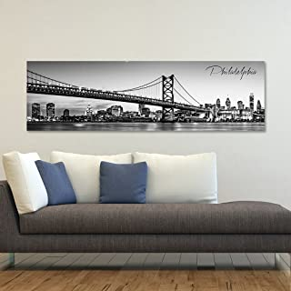 """WallsThatSpeak Panoramic Philadelphia Cityscape Picture, Black and White Stretched Canvas Art Prints, Wall Decoration for Bedroom or Office, Framed and Ready to Hang, 14"""" x 48"""""""