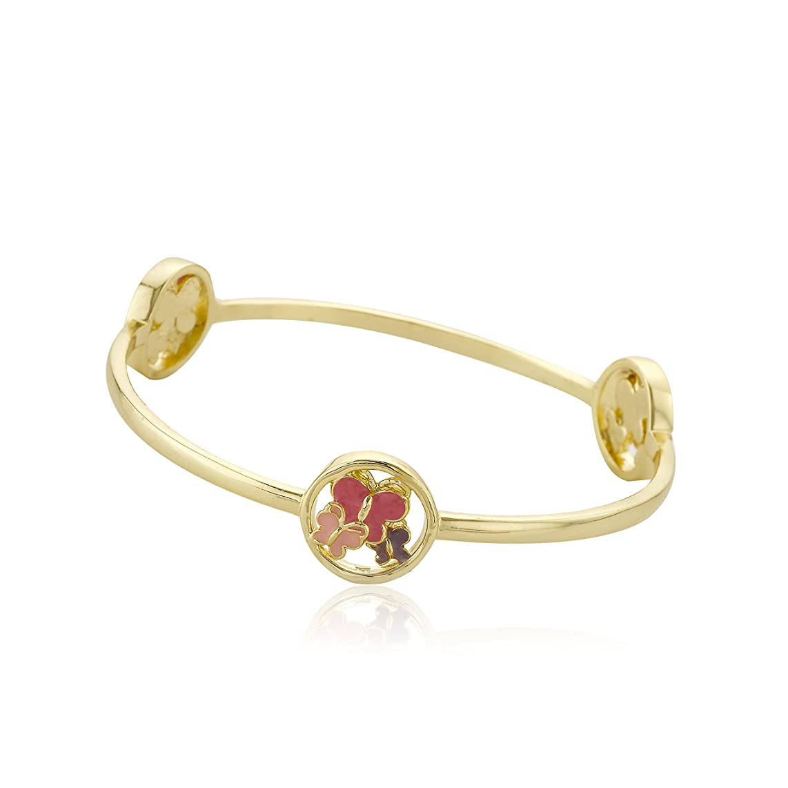 Little Miss Twin Stars Girls' Stackable Stunners 14k Gold-Plated Accented with Cut Out Enamel Disc Stations Bangle Bracelet