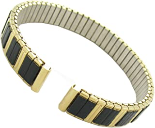 10mm Hirsch Romunda Ladies Twist-O-Flex Gold Black Tone Watch Band